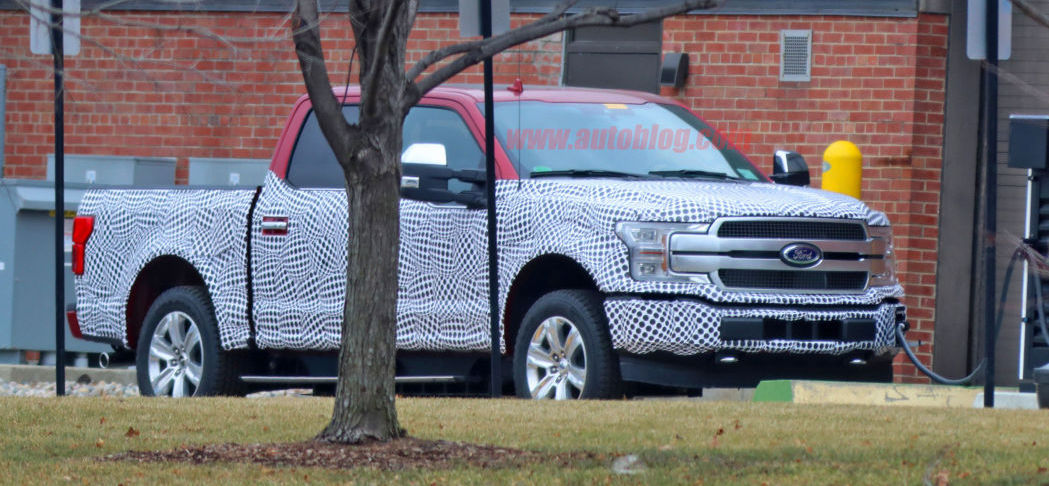 Electric Ford F-150 prototype spotted charging