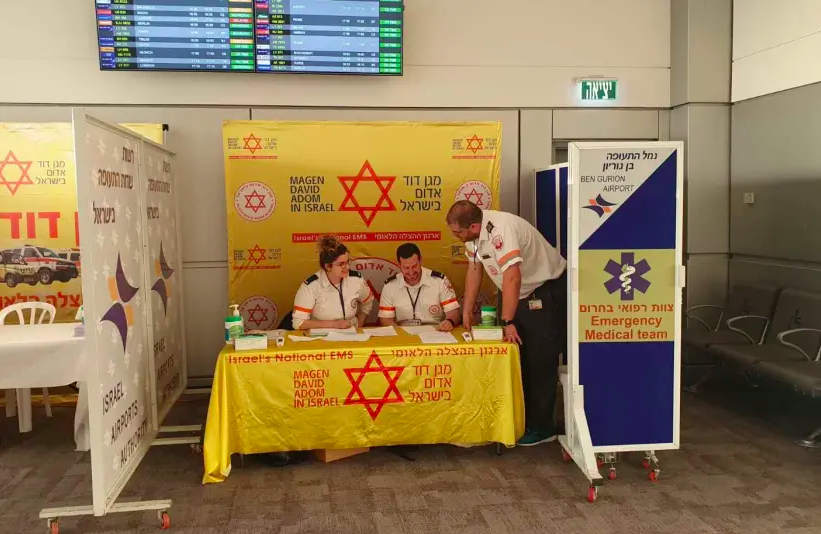MDA checking passengers returning from China at Ben-Gurion Airport