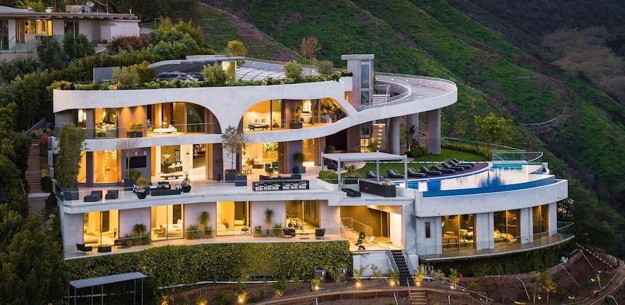 Sloping LA Mansion Comes With 20-Car Gallery on the Roof to Help You Show Off