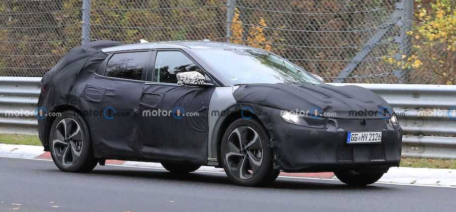 Kia's Mystery EV Crossover Spied Silently Attacking The Nurburgring